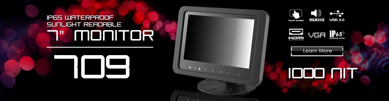 7 inch monitor, 7 inch touchscreen, small monitor, small touchscreen https://www.xenarc.com ruggedized solutions manufacturer for all industries  HDMI, VGA, DVI, SDI Video Inputs