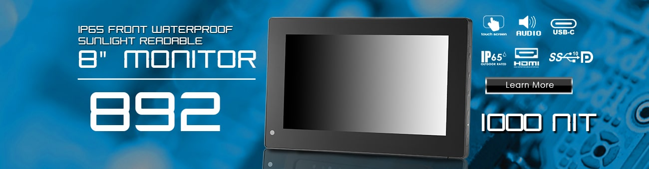 8 inch Front IP65 Sunlight Readable Capacitive Touchscreen LCD Monitor with HDMI and USB-C