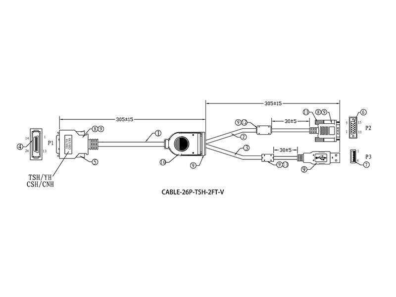 26-PIN TSH/CSH/CNH/GSH Series Monitor VGA and USB Input Cable - 2 FEET