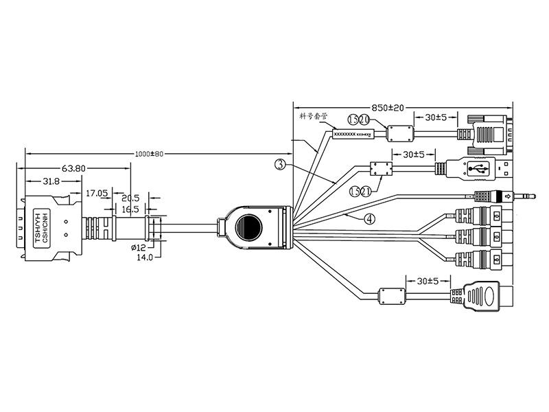 26-PIN TSH/CSH/CNH/GSH Series Monitor HDMI, VGA, DVI & AV Input Cable - 1.8M
